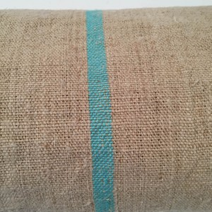 Taupe and Aqua Striped Hessian