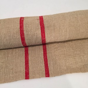 Taupe and Red Striped Hessian