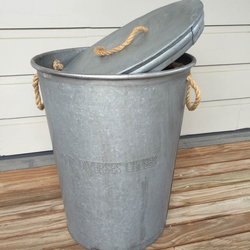 French Zinc Storage Bin Large