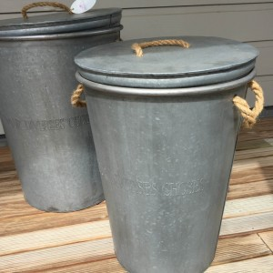 French Zinc Storage Bin Medium