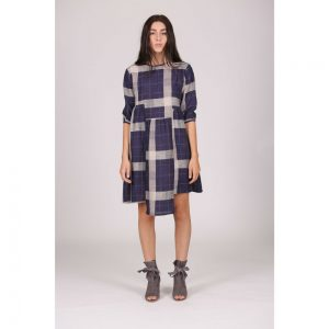 Freda Dress Deep Blue Check index